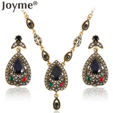 Joyme Brand Statement Necklace Women Chain African Jewelry Set Black/Green Rhinestone Choker Pendant Dangle Bohemian Earing