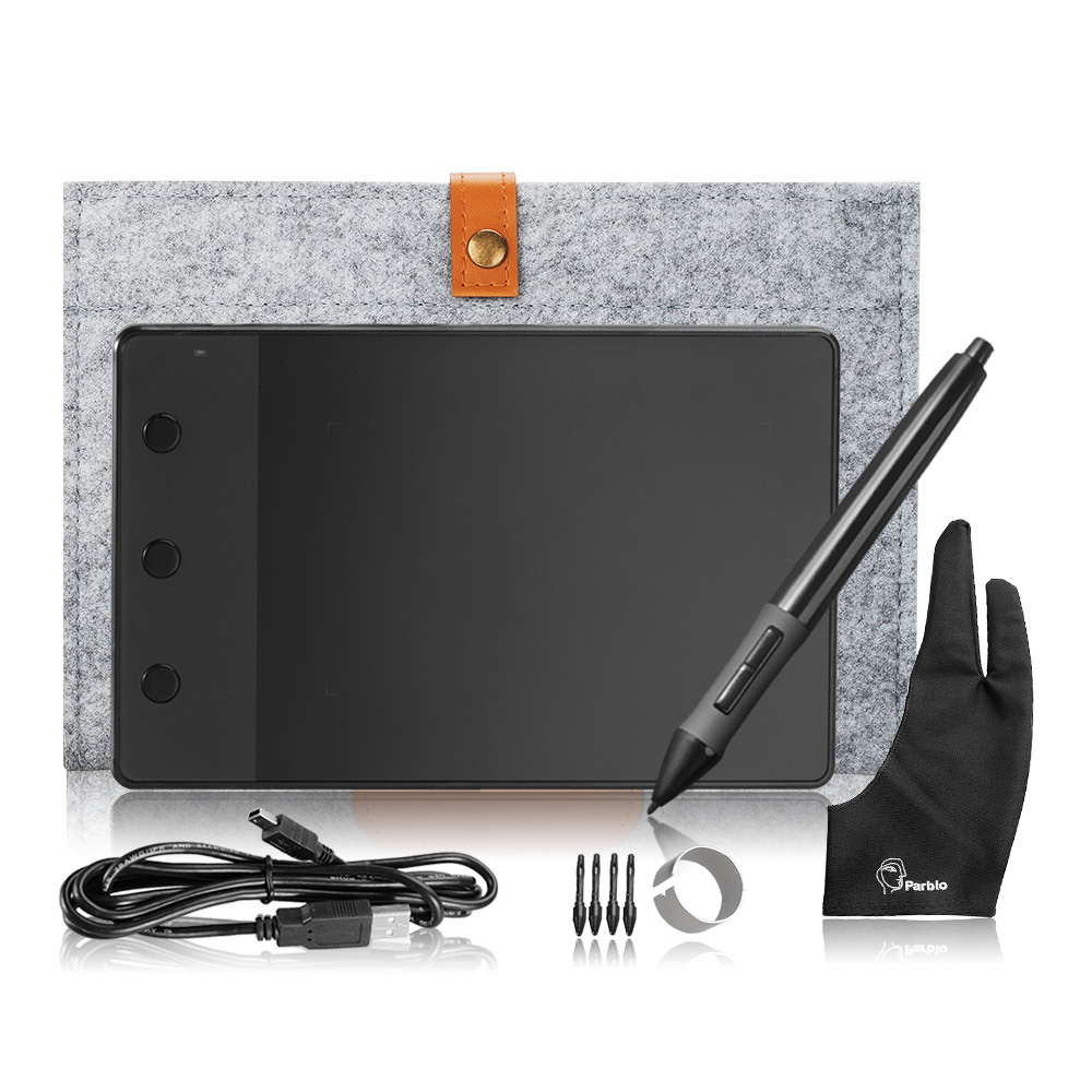 Original H420 Huion Tablet Gráfico Art Drawing Board + 10 Polegadas Saco Forro de Lã + Dois Dedos Anti-incrustação luva como Presente