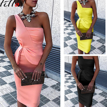 2019 womens party dress  Solid colo shoulder temperament commuter solid color one pleated bag hip