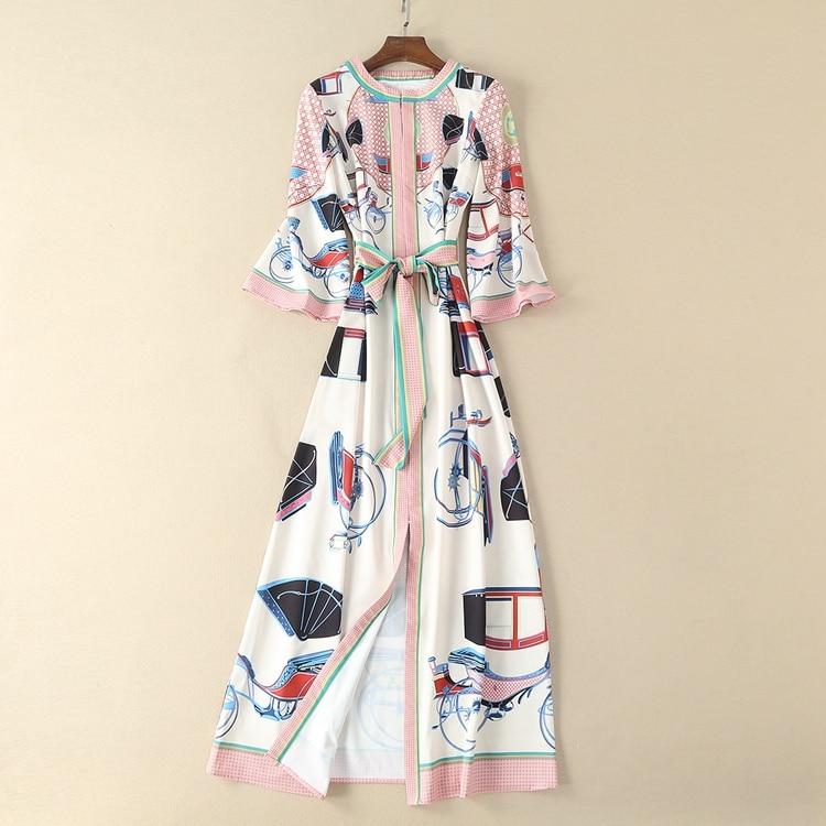 Retro Prairie Chic Kleid Dame 2018 Hohe Qualität Druck Runde Kragen Hülse mit Drei vierteln Frauen Neue Ankle länge Kleid-in Kleider aus Damenbekleidung bei  Gruppe 1