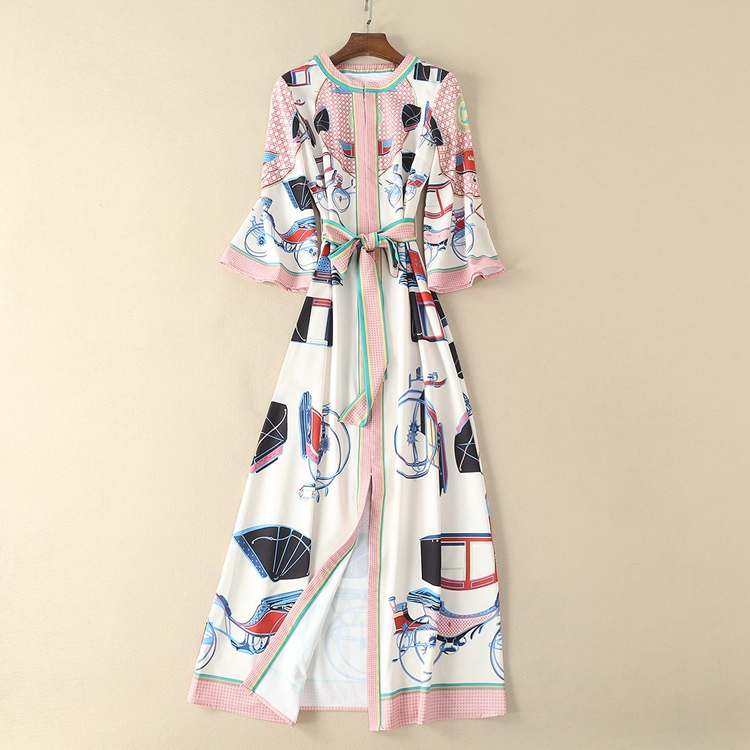 Kadın Giyim'ten Elbiseler'de Retro Prairie Şık Elbise Lady 2018 Yüksek Kaliteli Baskı Yuvarlak Yaka Üç çeyrek Kollu Kadınlar Yeni Ayak Bileği uzunlukta Elbise'da  Grup 1