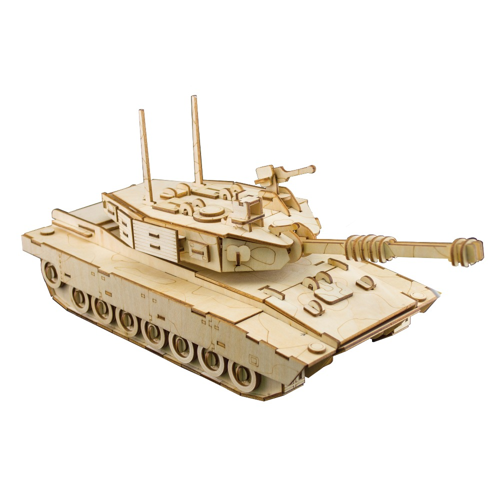 Laser Cutting DIY M1 Abrams TANK 3D Assembly Puzzle Wooden Educational Toys For Children