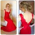 Vestidos de festa vestido longo 2017 Elegante Mujer decoración Del Cordón de la Sirena de espalda 2480 S largas armarios vestidos de baile rojo