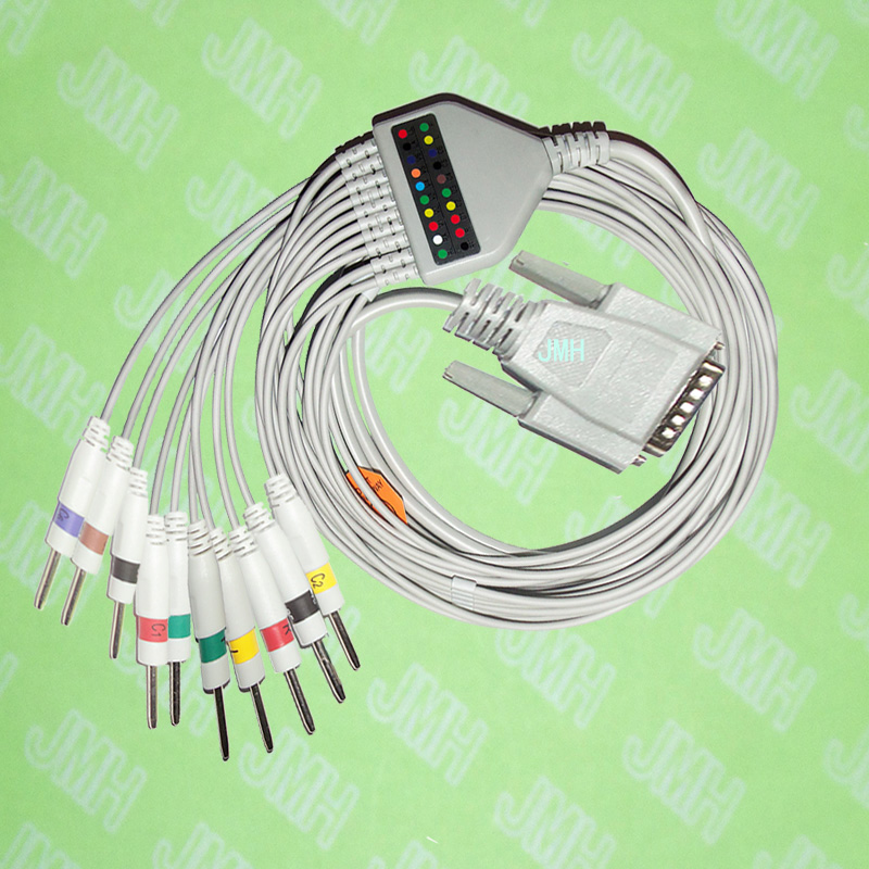 Use For 15 Pin Nihon Kohden,Fukuda Cardisuny  EKG Machine The One-piece 10 Leads Cable And 3.0 Pin Leadwires,IEC Or AHA.