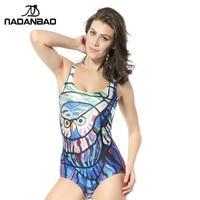 2015 Real Cheap High Quality Female Glass Owl One Piece Bathing Suit Digital Print Women Milk