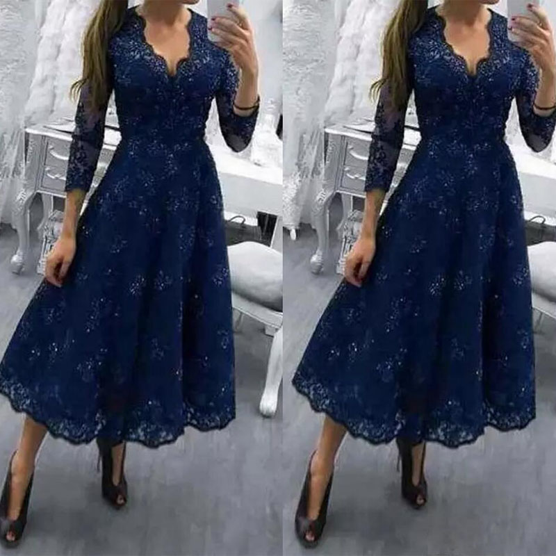 Navy Blue Three Quarter mother of the bride gowns Tea Length A Line Lace dresses Formal Dress