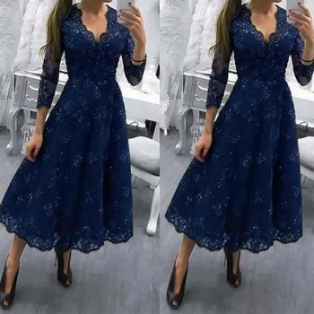 Navy Blue Three Quarter mother of the bride gowns Tea Length A Line Lace mother of bride dresses Formal Dress