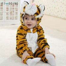 Kaplan Kigurumis bebek hayvan Cosplay kostüm çocuk çocuk Boy kız Onesie kış sonbahar yumuşak pijama fantezi bebek sevimli uyku takım elbise