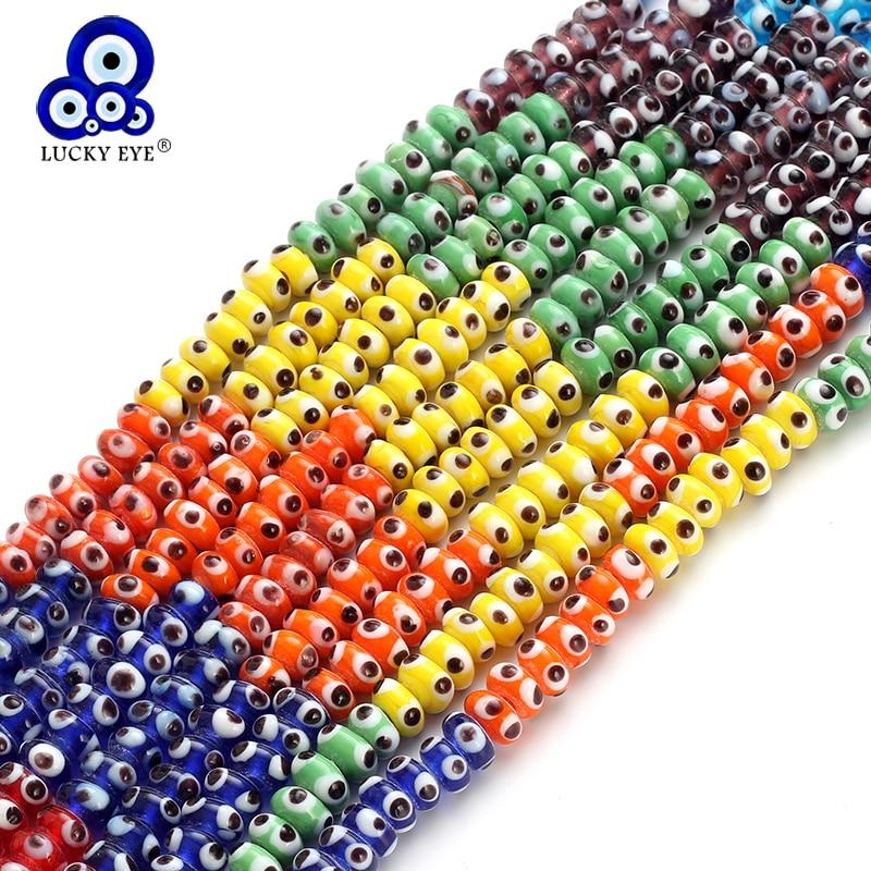 Lucky Eye Colorful Evil Eye Oval Glass Beads Bracelet ...