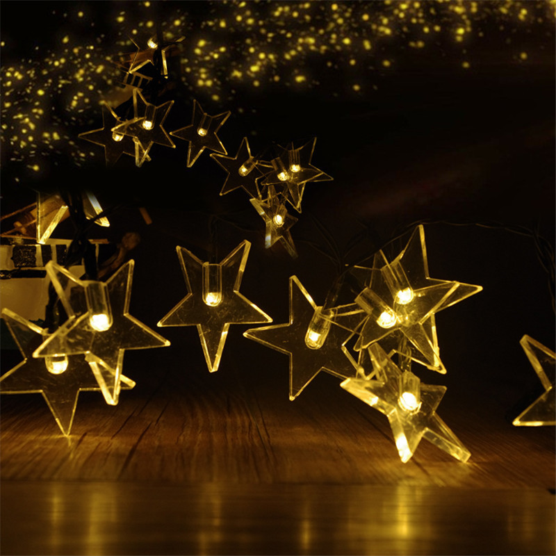 30LEDs Solar Powered Sky Five-pointed Star Light String Garden Lawn Porch Yard Christmas Tree Holiday Decor 3D Night Light