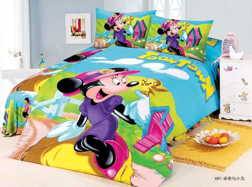 US $31.19 48% OFF Minnie mouse bedding sets Children\'s Girls bedroom decor  single twin size bed sheet blue green quilt duvet covers 3pcs no filler-in  ...