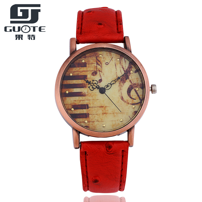 GUOTE New Fashion Watch Women Vintage Leather Strap Piano Music Pattern Casual Quartz Wristwatch Ladies Creative Retro Clock joyrox minions pattern children watch 2017 hot despicable me cartoon leather strap quartz wristwatch boys girls kids clock
