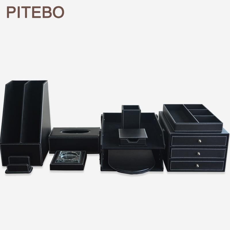 PITEBO 10 unids/set de lujo de cuero de Oficina de Papelería de escritorio organizador de archivo de gabinete de archivo de sationery pluma caja negro