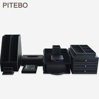 PITEBO 10PCS/set luxury leather office desk stationery file organizer set file cabinet sationery pen box black