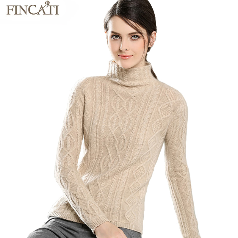 Women Pullover High Quality Cable Floral Knitted 100% Pure Cashmere Turtleneck Soft Skin Friendly Sweaters Pulls Femme