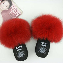 daf8793ede4a Real Fur Slippers platform Women Fox Home Fluffy Slippers With Feathers  Furry Summer Flats Ladies Shoes Fox Fur Flip Flops