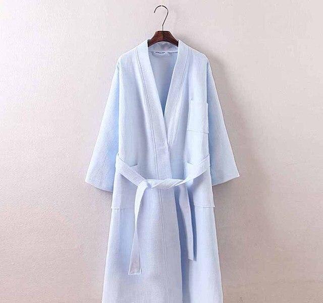 bc3381827f Towel Bath Robe Dressing Gown Unisex Men Women Sleeve Solid Cotton Waffle  Sleep Lounge Bathrobe Peignoir