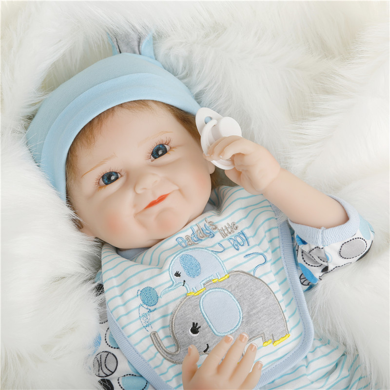 SanyDoll 22 inch 55 cm Silicone baby reborn dolls, lifelike Fashion Blue Suit Lovely dollSanyDoll 22 inch 55 cm Silicone baby reborn dolls, lifelike Fashion Blue Suit Lovely doll