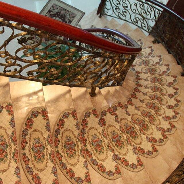 KEYAMA European Pastoral Style Acrylic Flower Non Slip Carpet Stair Treads  Mats New Home Staircase