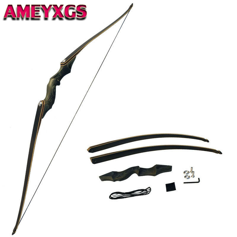 """30-50lbs 60/"""" Archery Hunting Takedown Right Hand Recurve Longbow Shooting Target"""