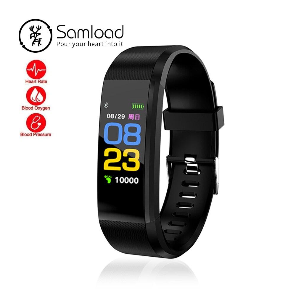 Samload ID115PLUS Smart Wristband Fitness pulsera Heart Rate Tracker Smartband impermeable para iPhone8 Xiaomi Huawei PK FitBits3