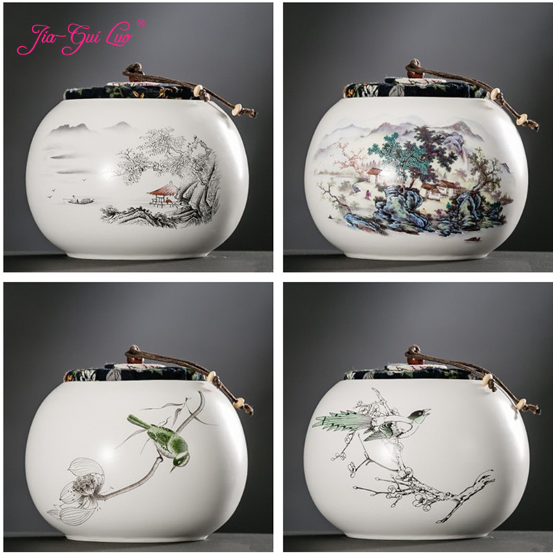 JIA GUI LUO Color Glaze Ceramic tea Kung Fu tea Tieguanyin sealed cans Dried fruit collection Portable travel tea box D058