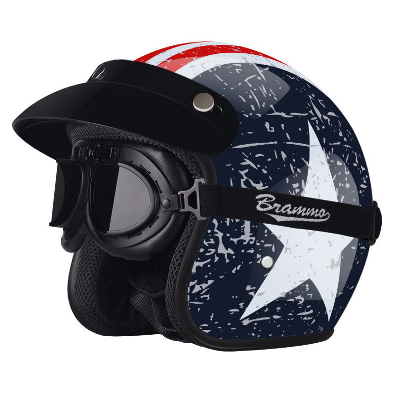 Vintage Motorcycle Helmet Harley Retro Helmets with Harley Goggles Chopper Vintage Open Face Summer Casque Moto Cacapete