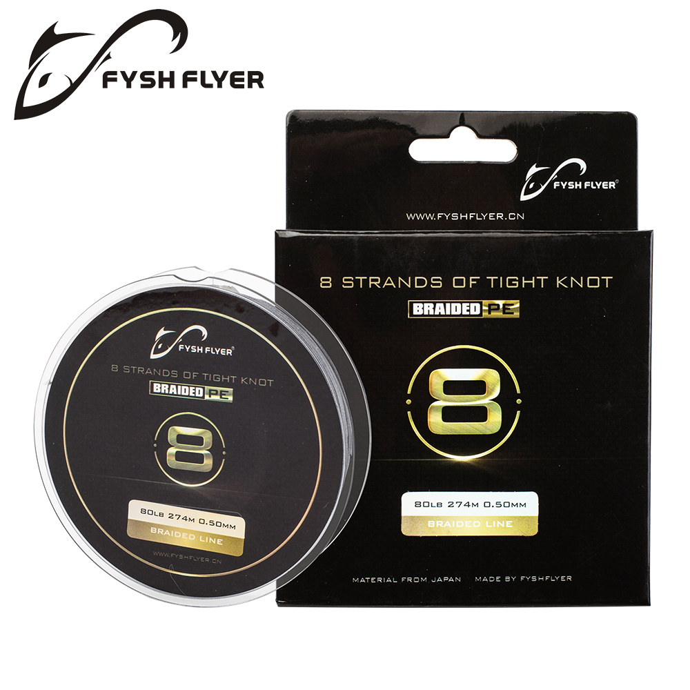 FyshFlyer 2018 New 8 Brands 274M Japan PE Braided Fishing Line Multifilament Fishing Wire for All Fishing 10-80LB Three colors