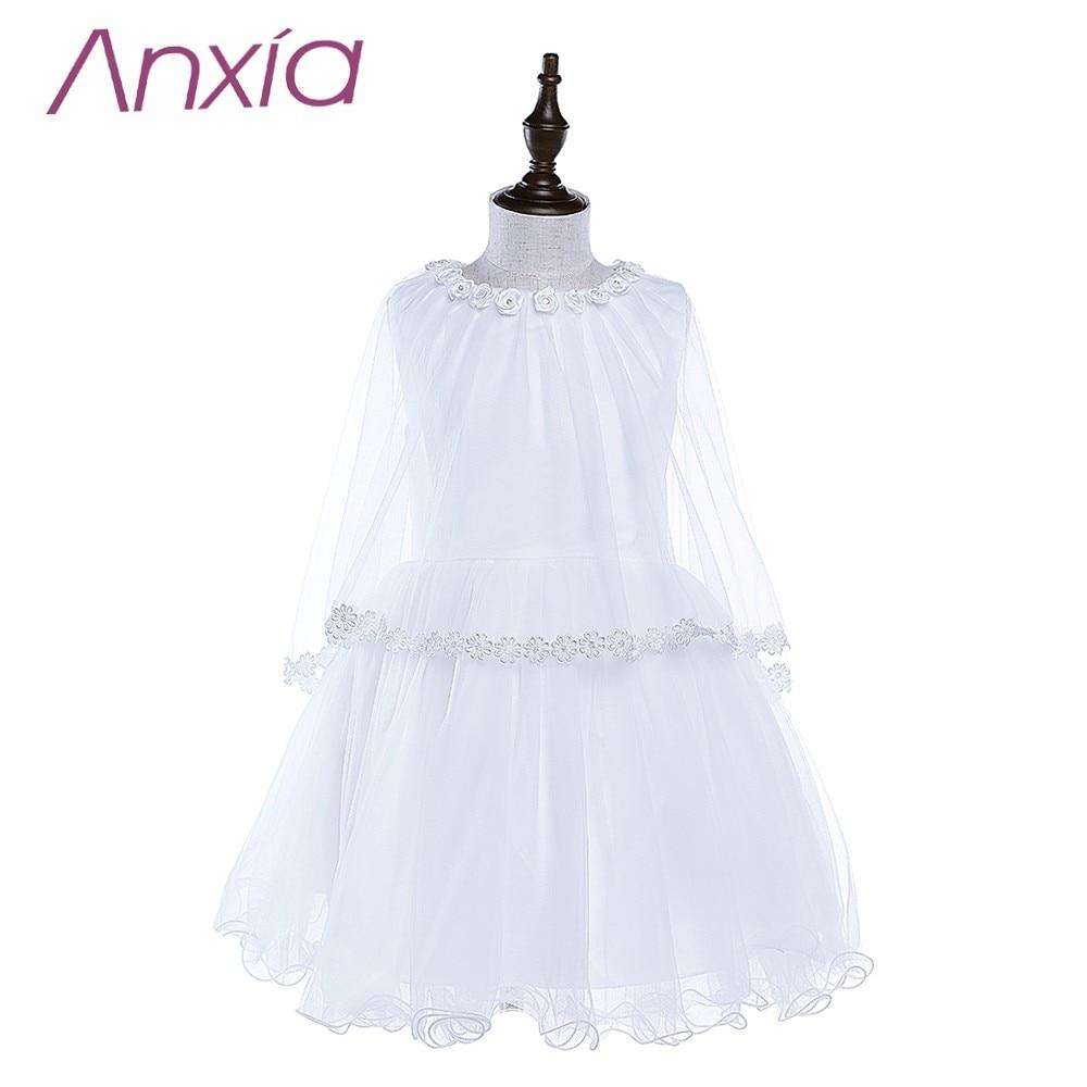 2016 Bijela Brand New Cvjetni Djevojka haljina s Cape Anxia Stvarni - Vjenčanje večernje haljine - Foto 1