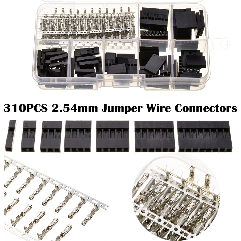 YT 310Pcs/Box 2.54mm 1/2/3/4/5/6/8 Pin Header Dupont Jumper Cable Wire Connectors Housing Male Female Crimp Pin Connectors yt 230pcs 2 3 4 5 pin header jumper cable wire housing crimp connectors 2 54mm male female dupont connectors terminals with box