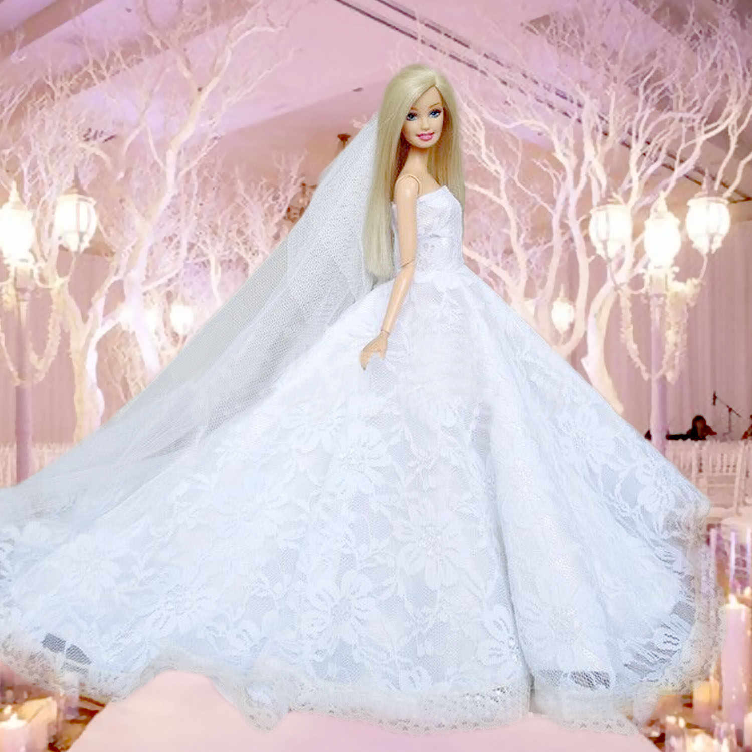 Detail Feedback Questions about Besegad Mini Girl Doll White Wedding  Dresses Long Lace Gauze Embroidered Gown Princess Dress Clothes Accessories  for Barbie ... 7620094abef0