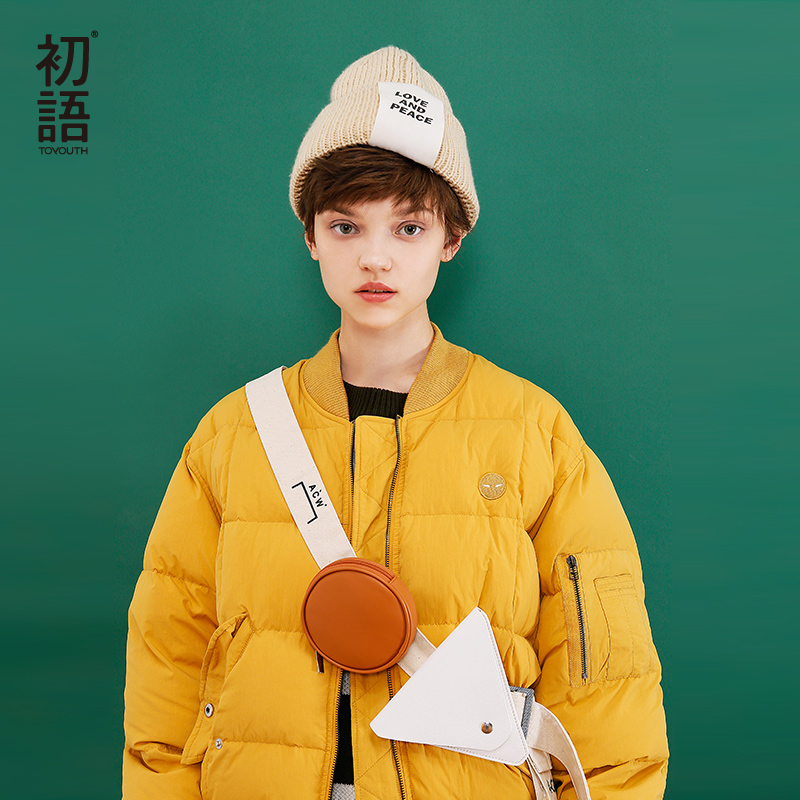 Toyouth Down Coats 2017 Winter Women Embroidery Bf Style Bright Color Thickening Loose Stand Collar Jacket Outwear