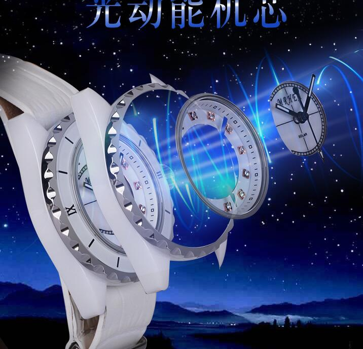 2019 Hong Kong MRHEA Eco-Drive Energy Fashion New Ceramic Belt Women's Watch Double-layer Leather Fashion Watch