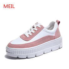 MEIL Spring New Women Shoes Flat Platform Leather Female Fashion Classic White casual zapatos mujer sneakers women