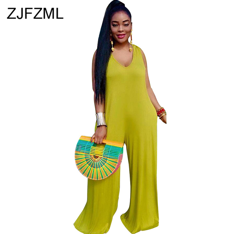 Plus Size Summer Rompers Womens   Jumpsuit   Sexy Deep V Neck Sleeveless Wide Leg Bodysuit Casual Female Loose One Piece Overalls