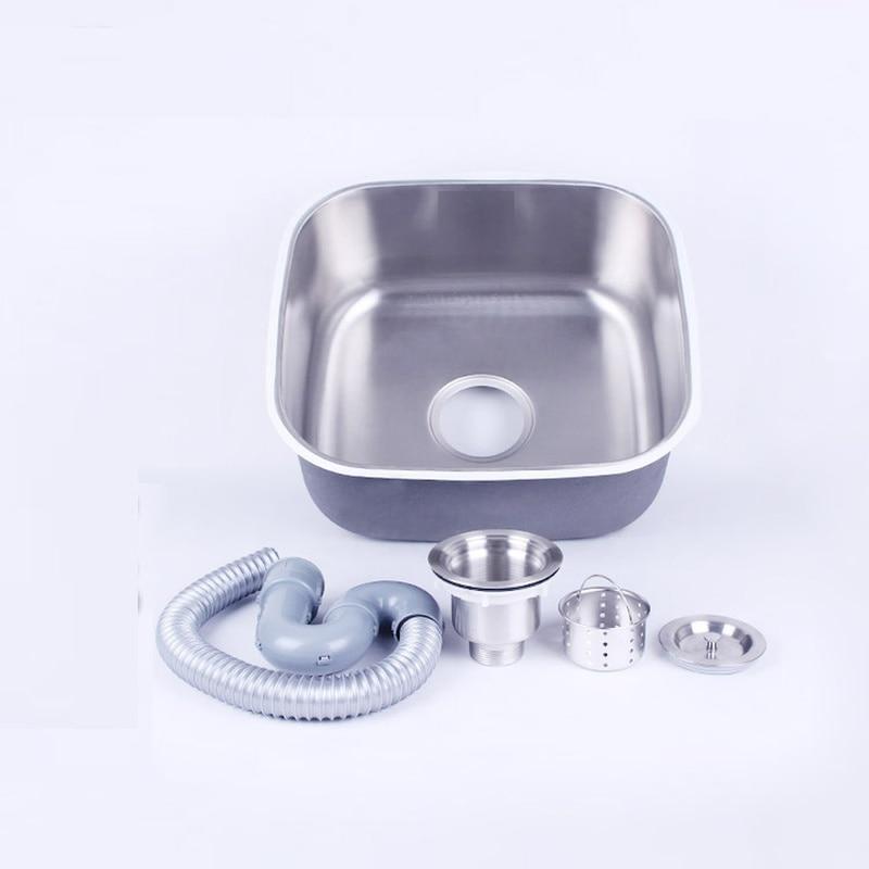 Évier de cuisine fait à la main 41*37*19 CM en acier inoxydable brossé simple bol évier de cuisine avec égouttoir sans robinets de cuisine mx4121715