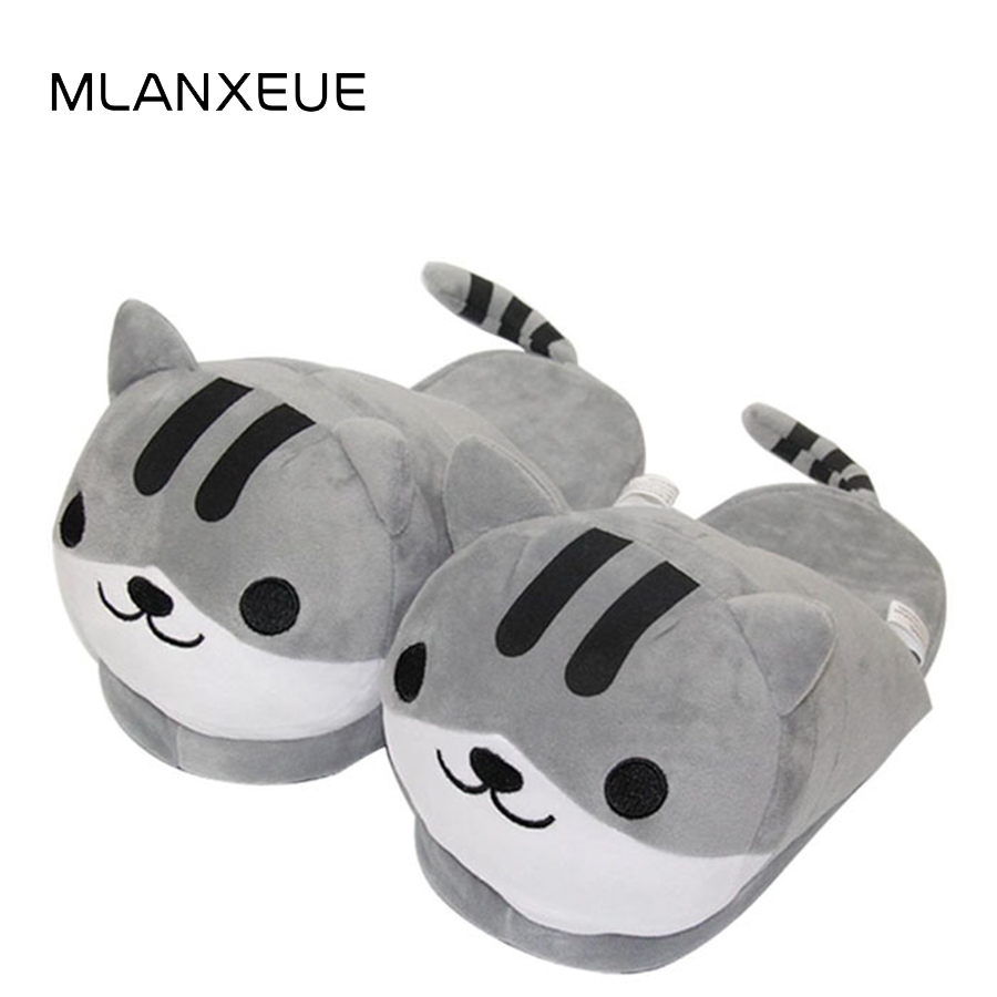 MLANXEUE Cute Carton Cat Lovers Cotton Slipers Shoes Women Winter Warm Plush Slippers Winter Animal Prints Female Home Slippers senza fretta winter slippers home warm cotton slippers with bag heel animal pattern plush warm home slippers cute women shoes