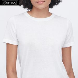 Image 4 - LilySilk Silk Knitted T shirt Soft Pure Natural white New Free Shipping
