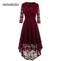 NANABUBU Womens Elegant Sexy Lace See Through Tunic Casual Club Bridesmaid Mother of Bride Dress Skater A Line Party Dress