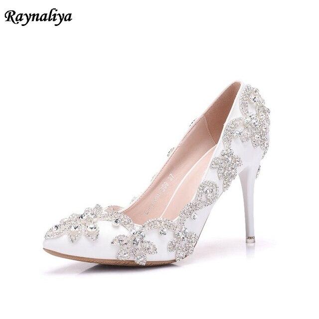 Handmade Women Pumps Princess Shoes Pearl Rhinestones Wedding Shoes Crystal  Adult Ceremony Super High Heels XY-A0044 ed445abe8e