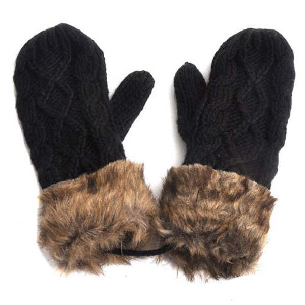 MYPF Warm Ladies Rag Wool Winter Snow Mittens Knitted Fleece Lined Fur Gloves Gray