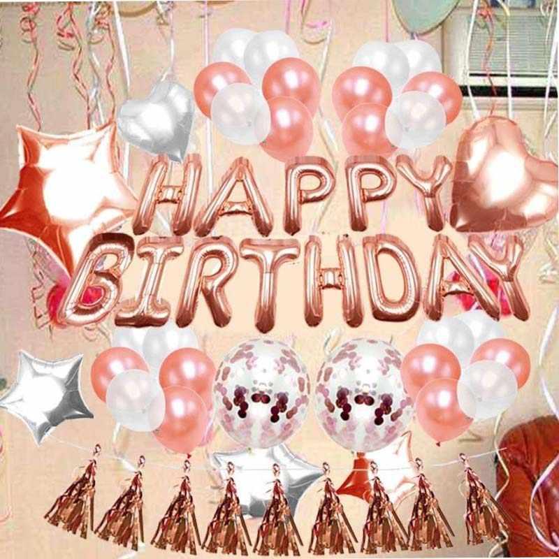 8SEASON Mix Rose Gold Confetti Latex Balloons Black And White Birthday Decorations Baby Shower Bridal