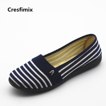 Cresfimix sapatos femininos women casual spring & summer slip on loafers lady cute comfortable slip on flat shoes female flats