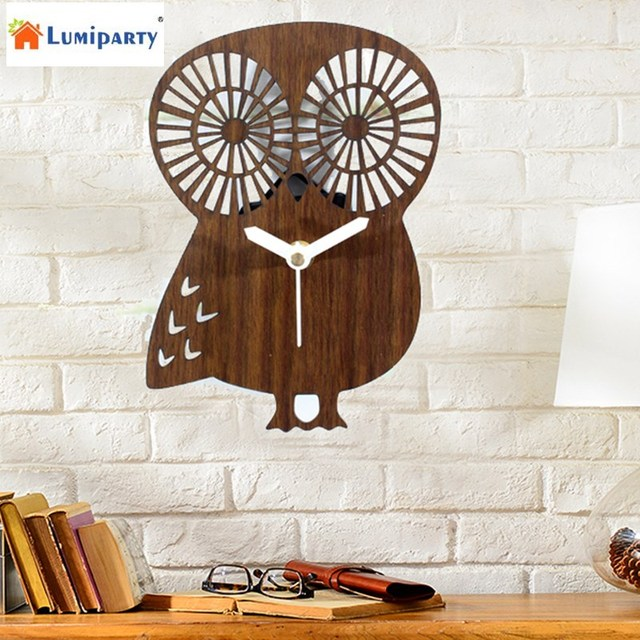 LumiParty Owl Wall Clock Imitation Wood Mute Wall Clock Decorative Antique Home Clocks For Kids Room Office Decoration-15