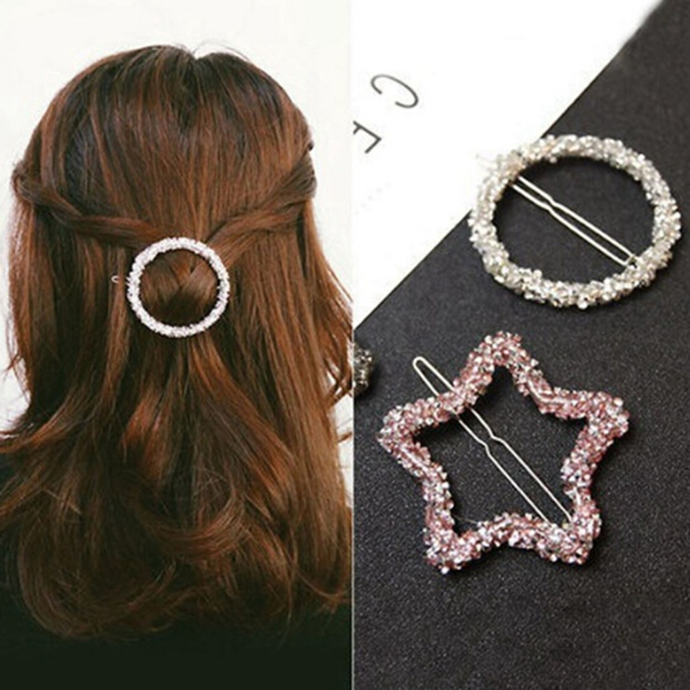 1 Pcs Fashion Crystal Rhinestones Hairpin Star Triangle Round Shape Women Hair Clips Barrettes Girls Hair Styling Accessories