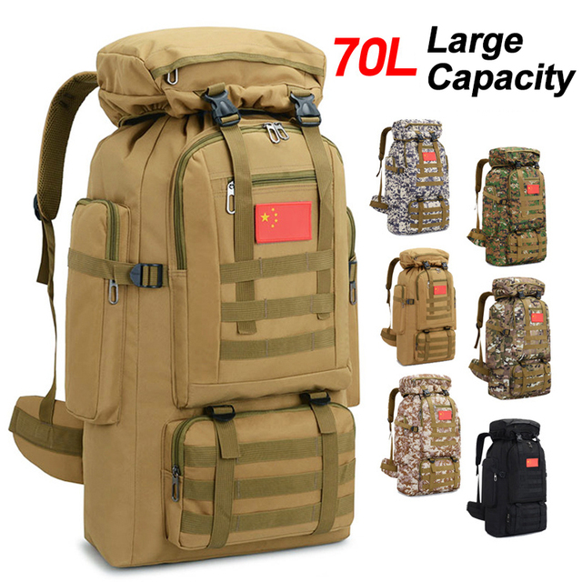 cf9e4f17d69f 70L 600D Camping Hiking Mountaineering Backpack Military Molle Camo  Waterproof Tactical Bag Adjustable Large Capacity