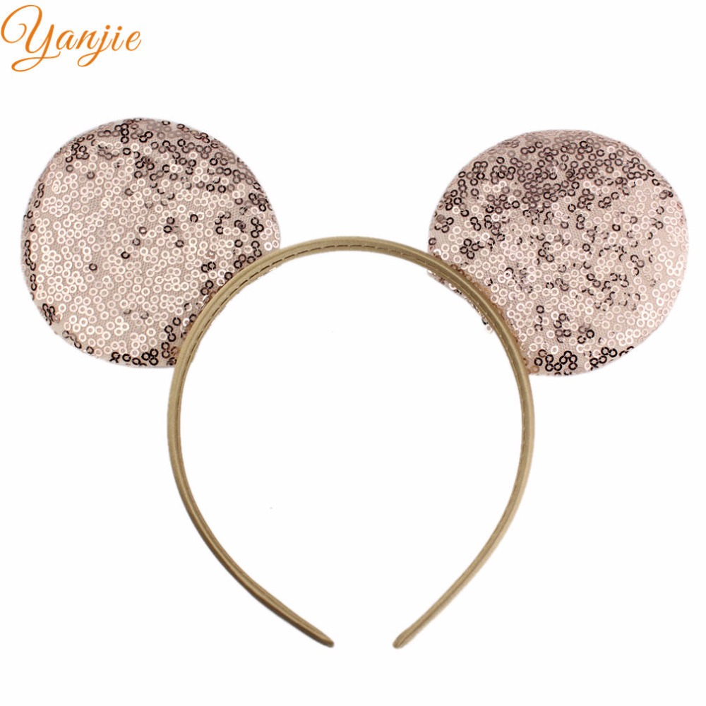 14pcs/lot 7Colors 2018 Trendy Big Sequins Girl Minnie Mouse Ear Hairband Infantile Girl DIY Hair Accessories For Kids Headband