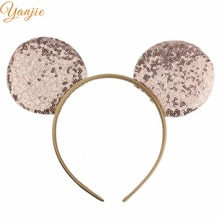 YANJIE 14pcs/lot 7Colors 2019 Trendy Big Sequins Minnie Mouse Ear Hairband Infantile
