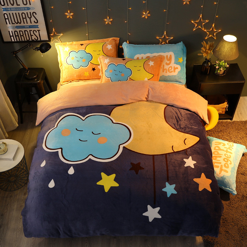 Winter 4 Pieces Cartoon uil Luxe Beddengoed Set Kingsize Queen Bed Set Fleece stof Dekbedovertrek Laken Kussensloop - 4