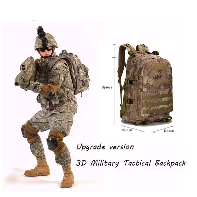Waterproof 3D Military Tactics Backpack Rucksack Bag 30L Wear-resisting Camouflage Nylon Bagpack Travel Back Pack 35l men women military backpack waterproof nylon fashion male laptop back bag female travel rucksack camouflage army hike bags